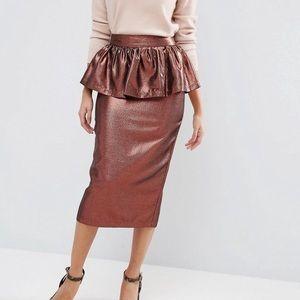 ASOS peplum metallic midi skirt